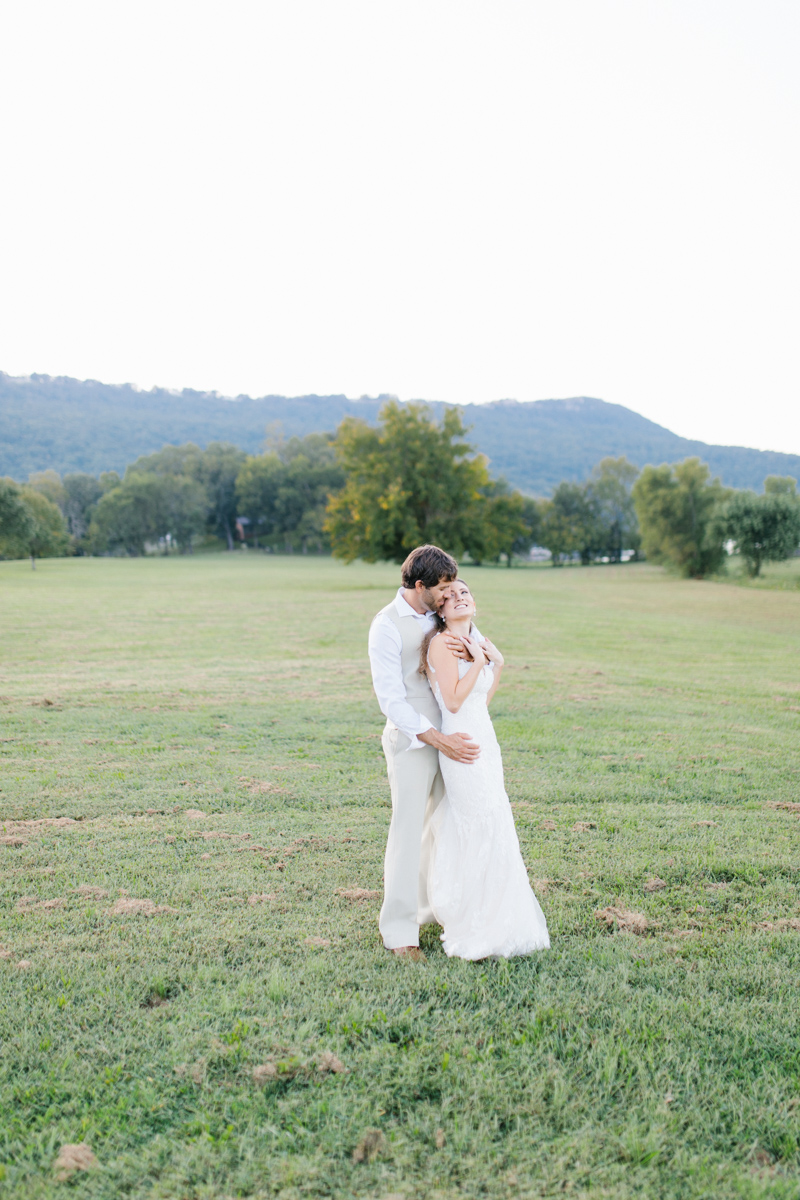 Southern Wedding | Bride and Groom Sunset Portraits by the River | Green field sunset portraits |Tennessee River Place Wedding Chattanooga TN | Emma Rose Company | Wedding in the South | VSCO | Southern Bride-4.jpg