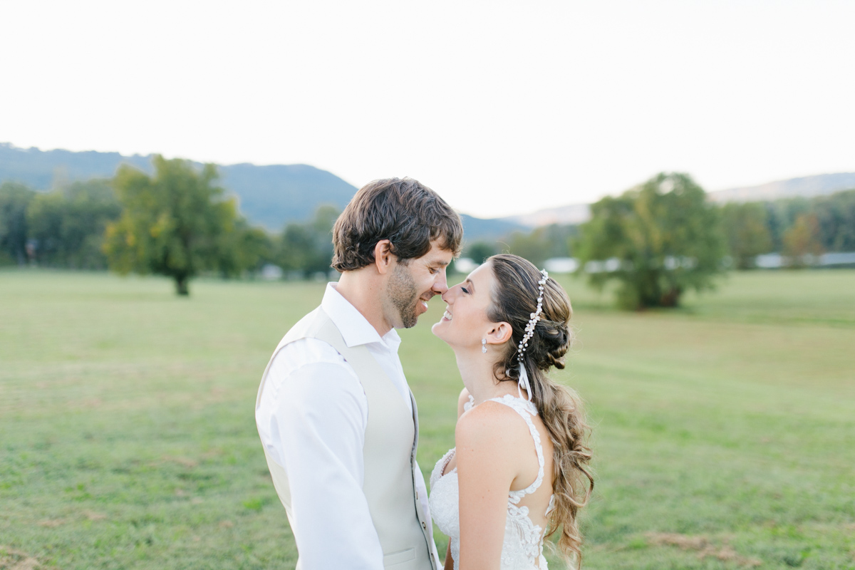 Southern Wedding | Bride and Groom Sunset Portraits by the River | Green field sunset portraits |Tennessee River Place Wedding Chattanooga TN | Emma Rose Company | Wedding in the South | VSCO | Southern Bride-5.jpg
