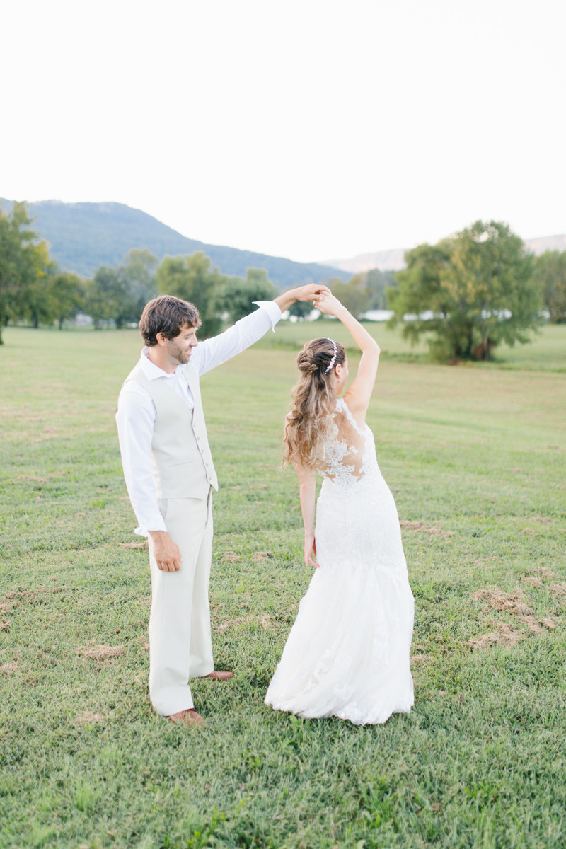 Southern Wedding | Bride and Groom Sunset Portraits by the River | Green field sunset portraits |Tennessee River Place Wedding Chattanooga TN | Emma Rose Company | Wedding in the South | VSCO | Southern Bride-7.jpg