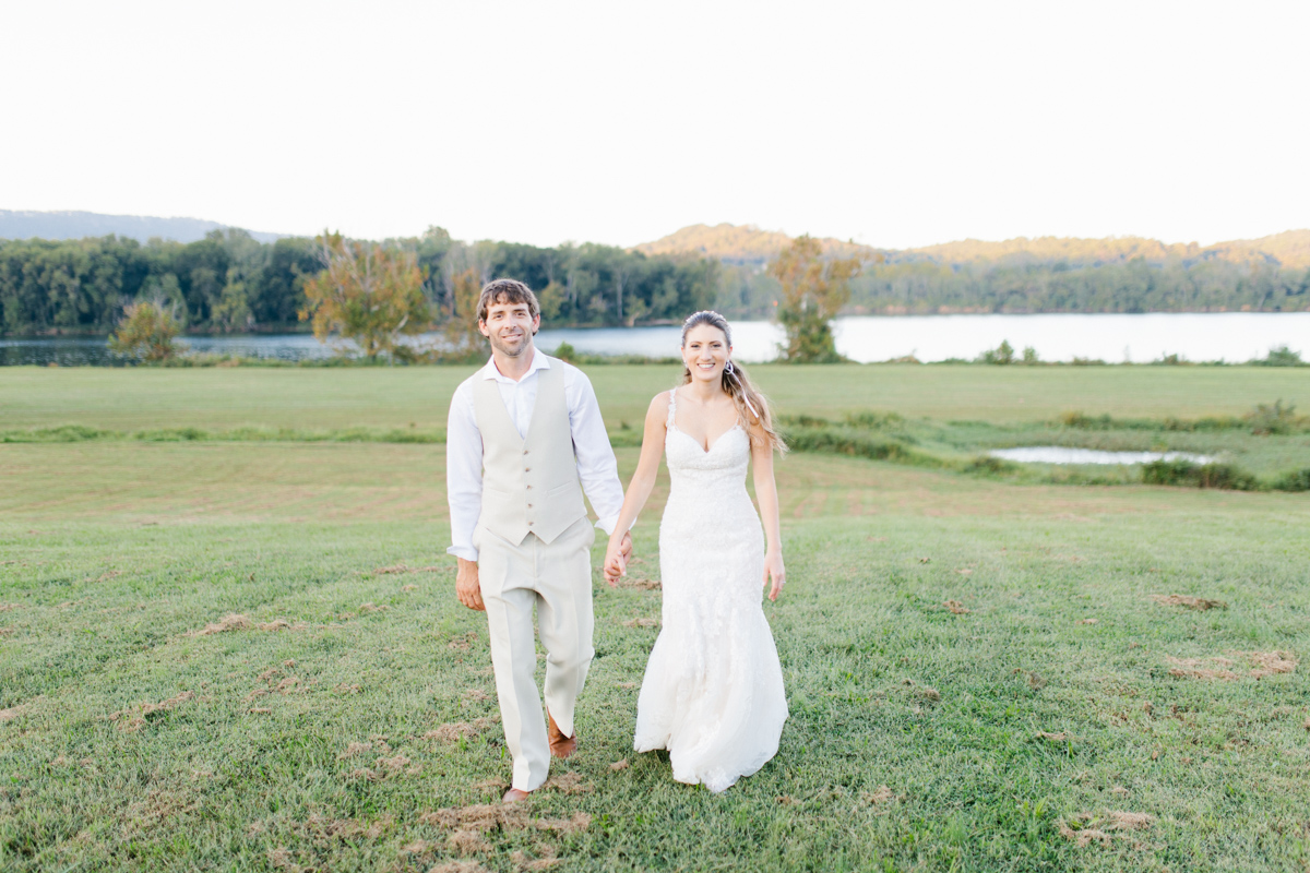 Southern Wedding | Bride and Groom Sunset Portraits by the River | Green field sunset portraits |Tennessee River Place Wedding Chattanooga TN | Emma Rose Company | Wedding in the South | VSCO | Southern Bride-8.jpg