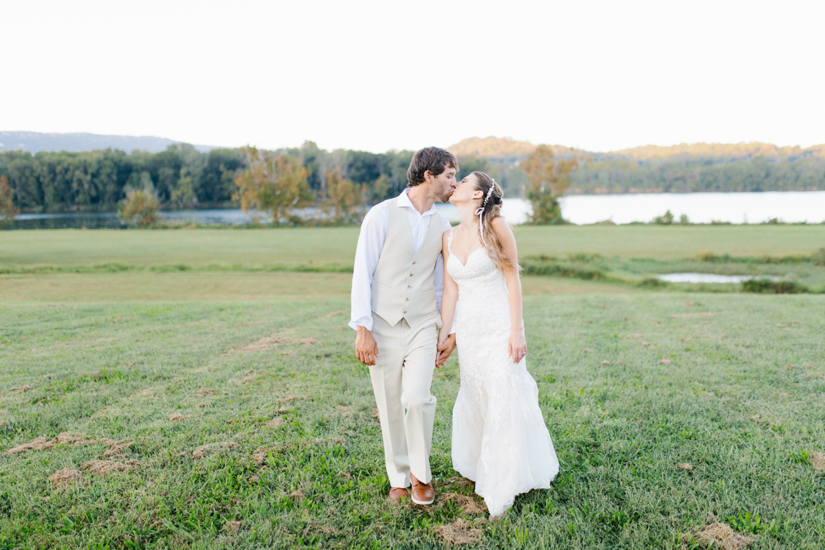 Southern Wedding | Bride and Groom Sunset Portraits by the River | Green field sunset portraits |Tennessee River Place Wedding Chattanooga TN | Emma Rose Company | Wedding in the South | VSCO | Southern Bride-9.jpg