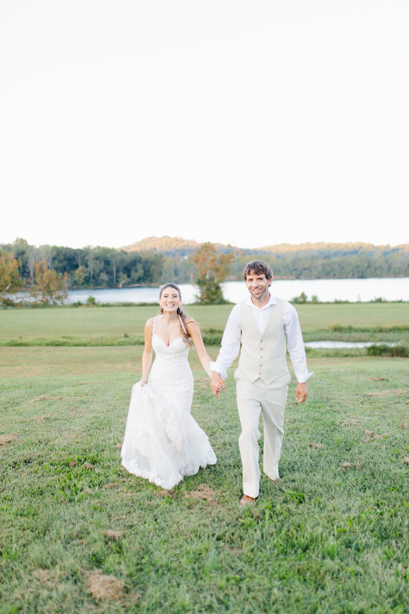 Southern Wedding | Bride and Groom Sunset Portraits by the River | Green field sunset portraits |Tennessee River Place Wedding Chattanooga TN | Emma Rose Company | Wedding in the South | VSCO | Southern Bride-10.jpg