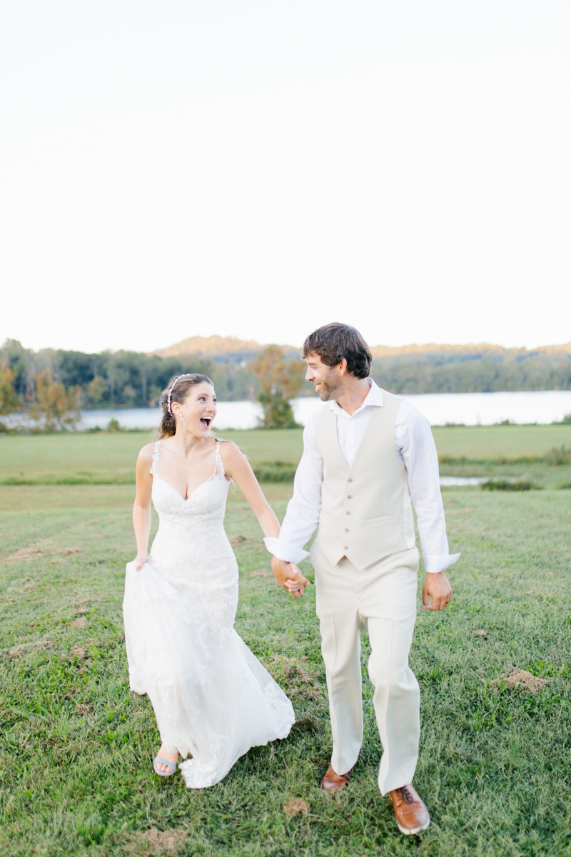 Southern Wedding | Bride and Groom Sunset Portraits by the River | Green field sunset portraits |Tennessee River Place Wedding Chattanooga TN | Emma Rose Company | Wedding in the South | VSCO | Southern Bride-11.jpg