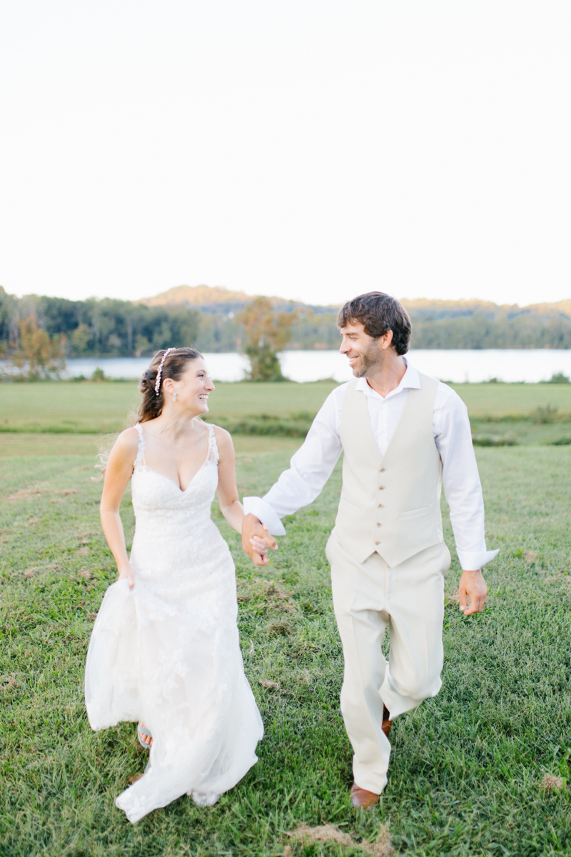 Southern Wedding | Bride and Groom Sunset Portraits by the River | Green field sunset portraits |Tennessee River Place Wedding Chattanooga TN | Emma Rose Company | Wedding in the South | VSCO | Southern Bride-12.jpg