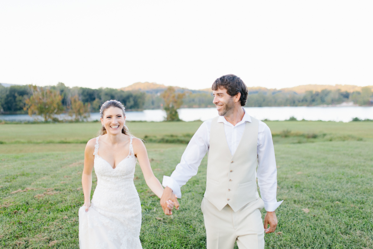 Southern Wedding | Bride and Groom Sunset Portraits by the River | Green field sunset portraits |Tennessee River Place Wedding Chattanooga TN | Emma Rose Company | Wedding in the South | VSCO | Southern Bride-13.jpg