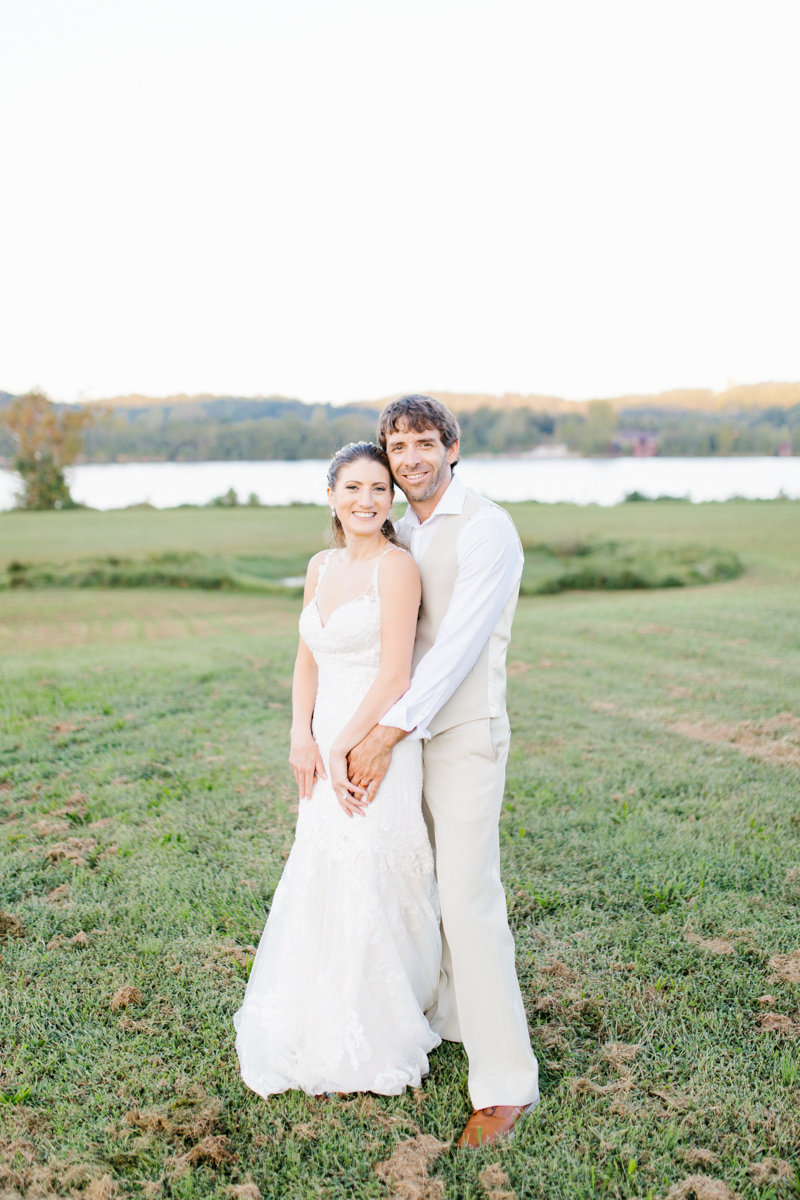 Southern Wedding | Bride and Groom Sunset Portraits by the River | Green field sunset portraits |Tennessee River Place Wedding Chattanooga TN | Emma Rose Company | Wedding in the South | VSCO | Southern Bride-15.jpg