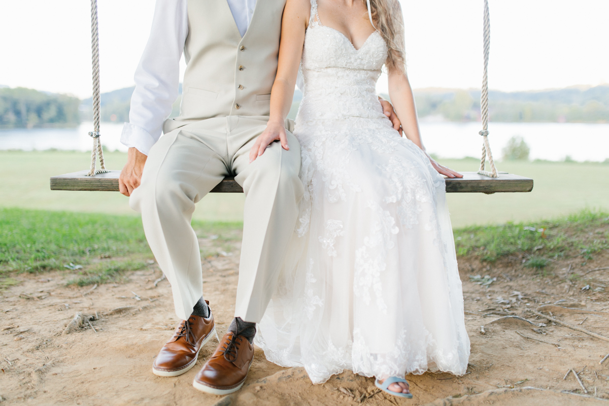 Southern Wedding | Bride and Groom Sunset Portraits by the River | Green field sunset portraits |Tennessee River Place Wedding Chattanooga TN | Emma Rose Company | Wedding in the South | VSCO | Southern Bride-16.jpg