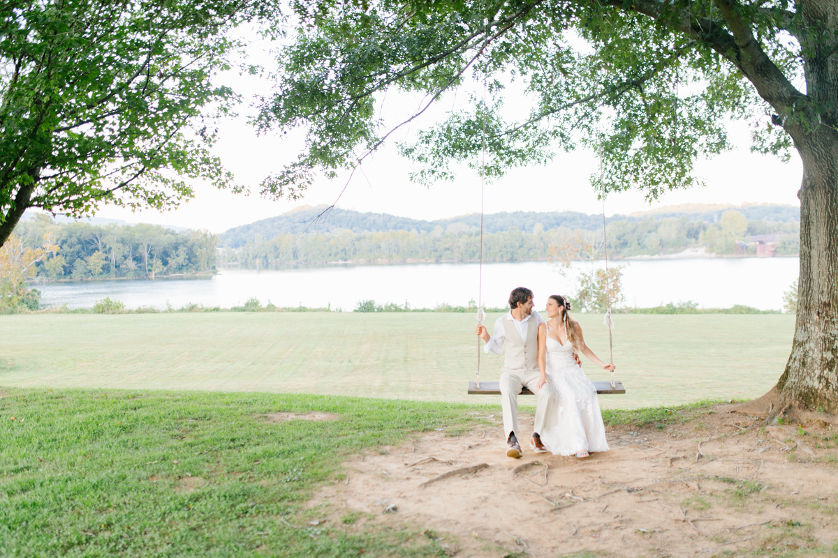 Southern Wedding | Bride and Groom Sunset Portraits by the River | Green field sunset portraits |Tennessee River Place Wedding Chattanooga TN | Emma Rose Company | Wedding in the South | VSCO | Southern Bride-19.jpg