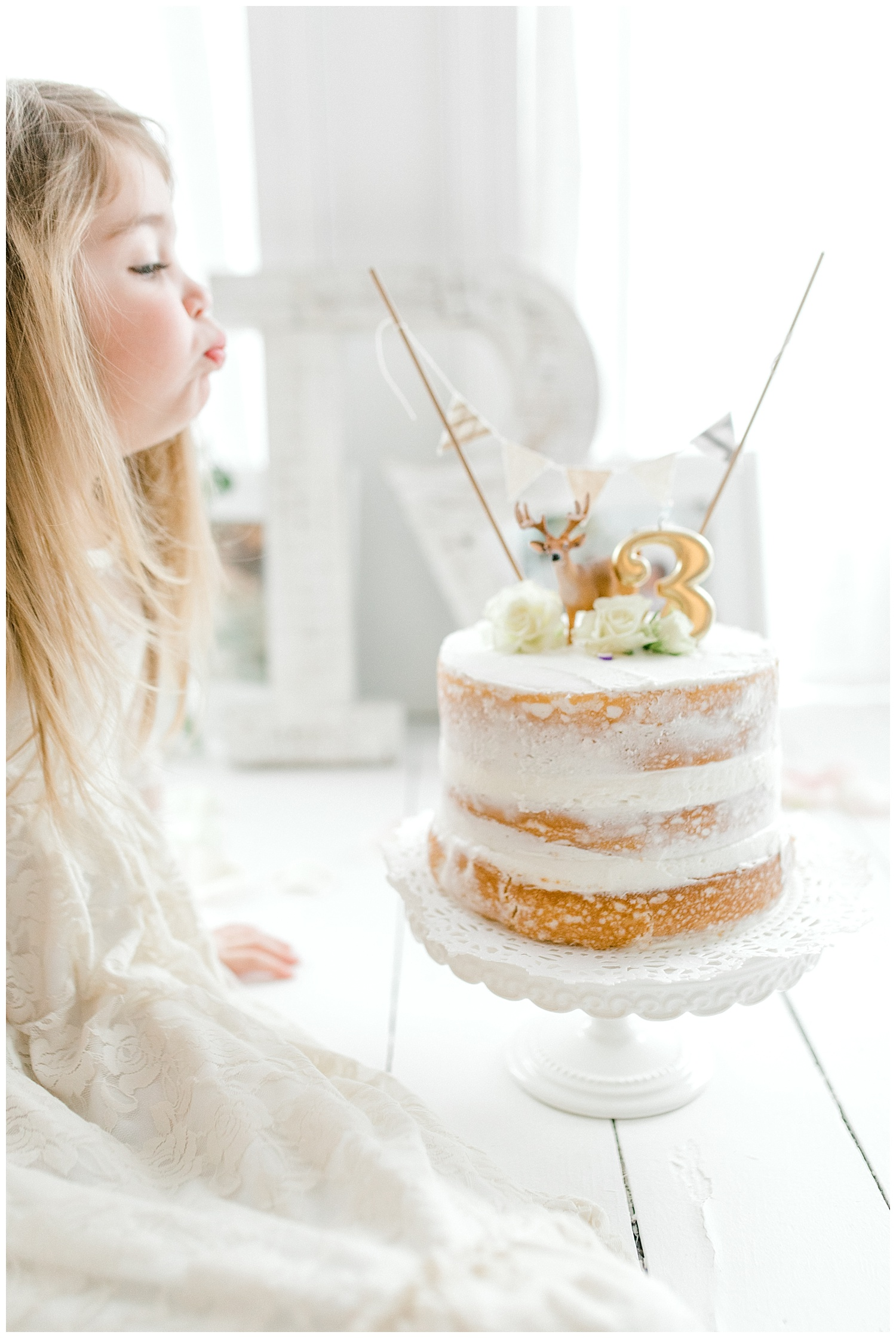 The Most Perfect Little Girl's Birthday Party Design | Animal Themed Toddler Birthday | Emma Rose Company | Blush and Grey Roses | Perfect White Rustic Birthday Cake | Deer Cake