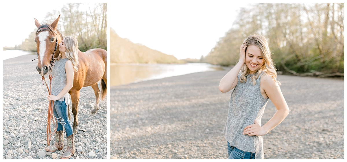 Sunset Senior Session with Horse | Senior Session Inspiration Session | Horse Photo Session | Pacific Northwest Light and Airy Wedding and Portrait Photographer | Emma Rose Company | Kindred Presets Rocky Beach.jpg