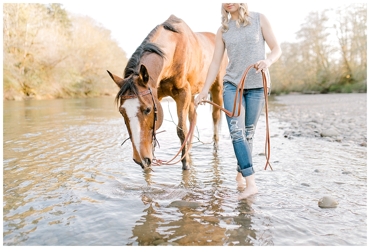 Sunset Senior Session with Horse | Senior Session Inspiration Session | Horse Photo Session | Pacific Northwest Light and Airy Wedding and Portrait Photographer | Emma Rose Company | Kindred Presets Horse in River.jpg