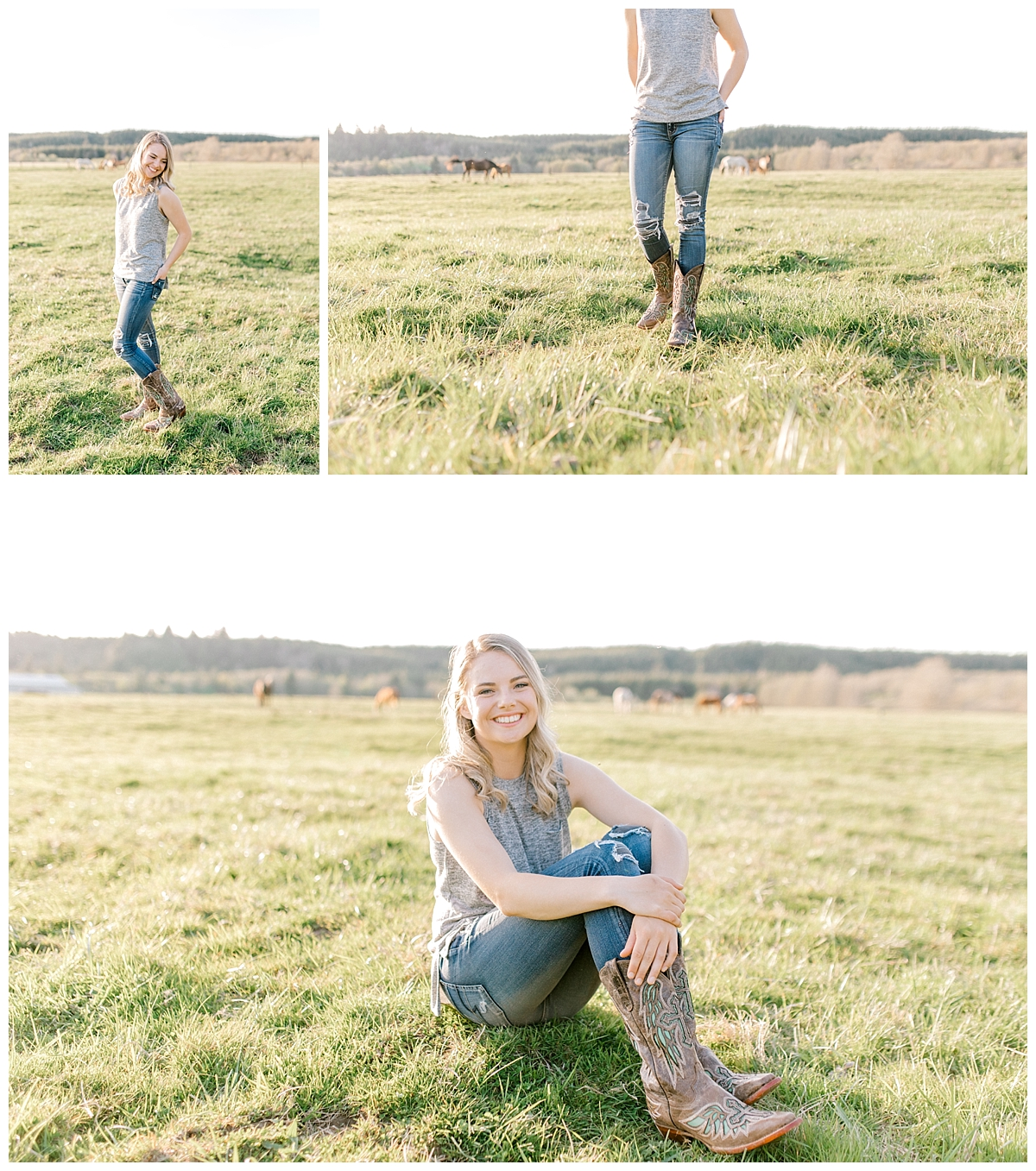 Sunset Senior Session with Horse | Senior Session Inspiration Session | Horse Photo Session | Pacific Northwest Light and Airy Wedding and Portrait Photographer | Emma Rose Company | Kindred Presets Senior Posing.jpg