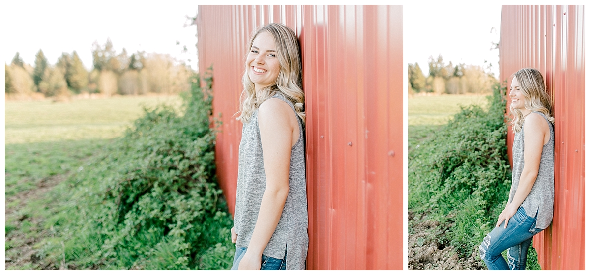 Sunset Senior Session with Horse | Senior Session Inspiration Session | Horse Photo Session | Pacific Northwest Light and Airy Wedding and Portrait Photographer | Emma Rose Company | Kindred Presets Red Barn.jpg
