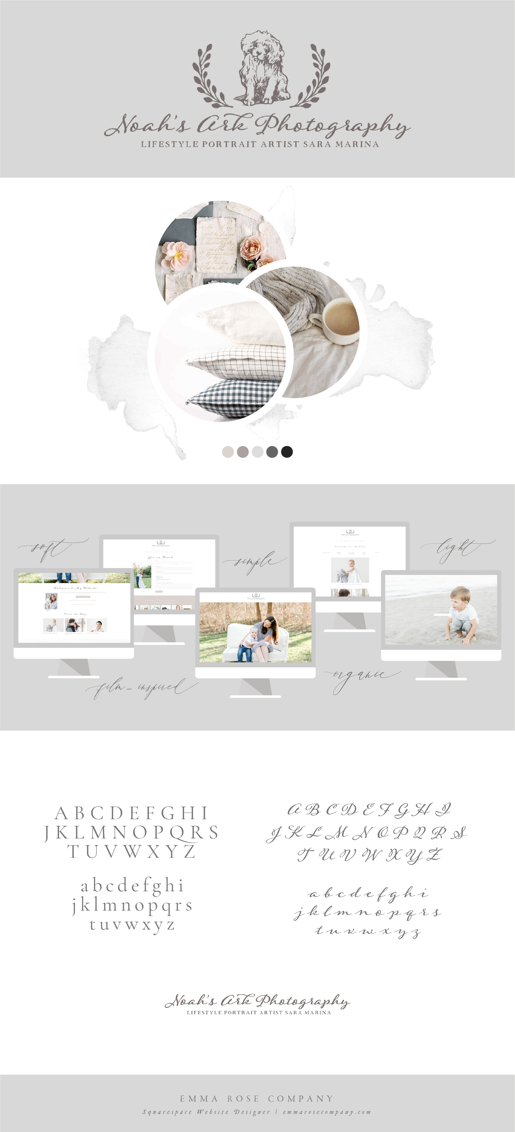 Noah's Ark Photography | ERC Project Showcase | Branding Board Inspiration | Squarespace Website Designer for Photographers