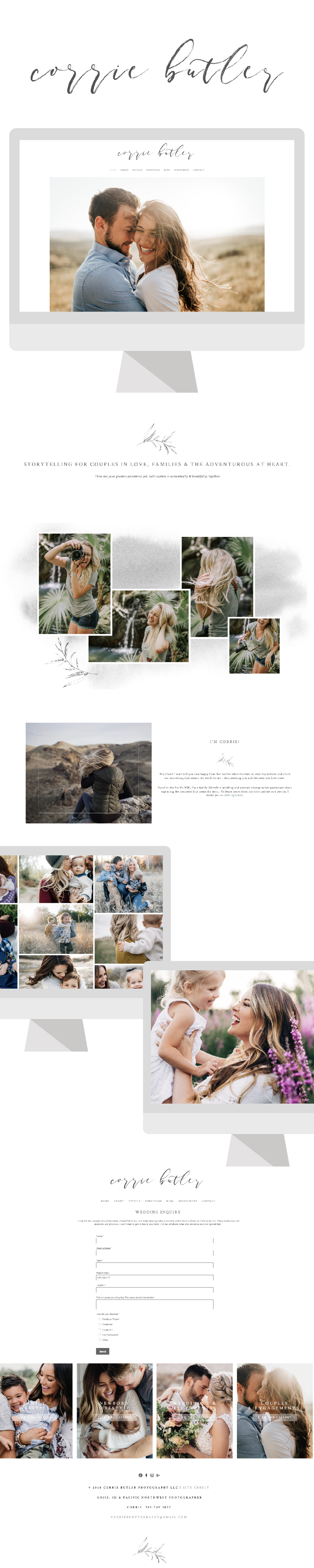 Corrie Butler| ERC Project Showcase | Website highlight showcase for Pinterest | Squarespace Website Designer For Photographers