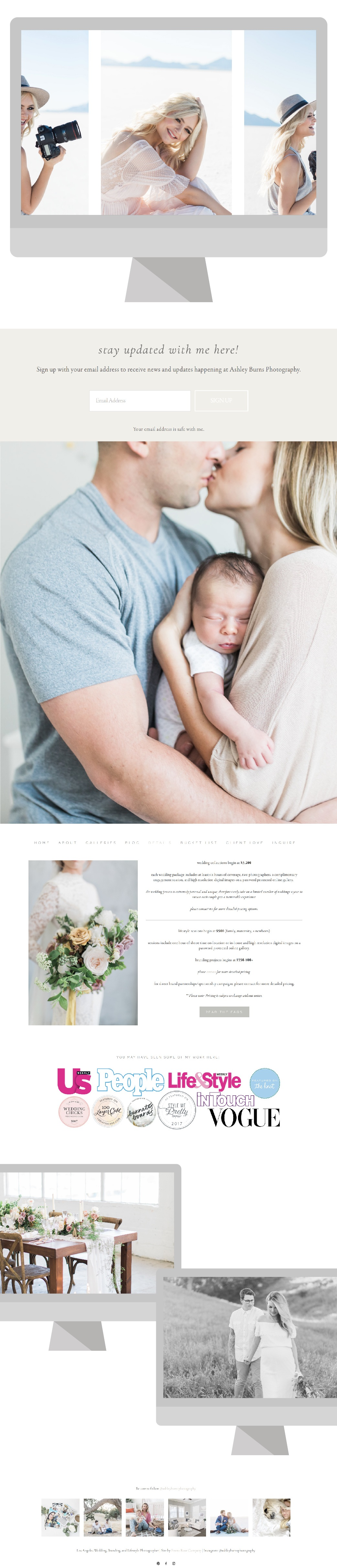 Ashley Burns Photography modern squarespace website design and branding project with Emma Rose Company, a designer for photographers | Geometric design inspiration neutral tones