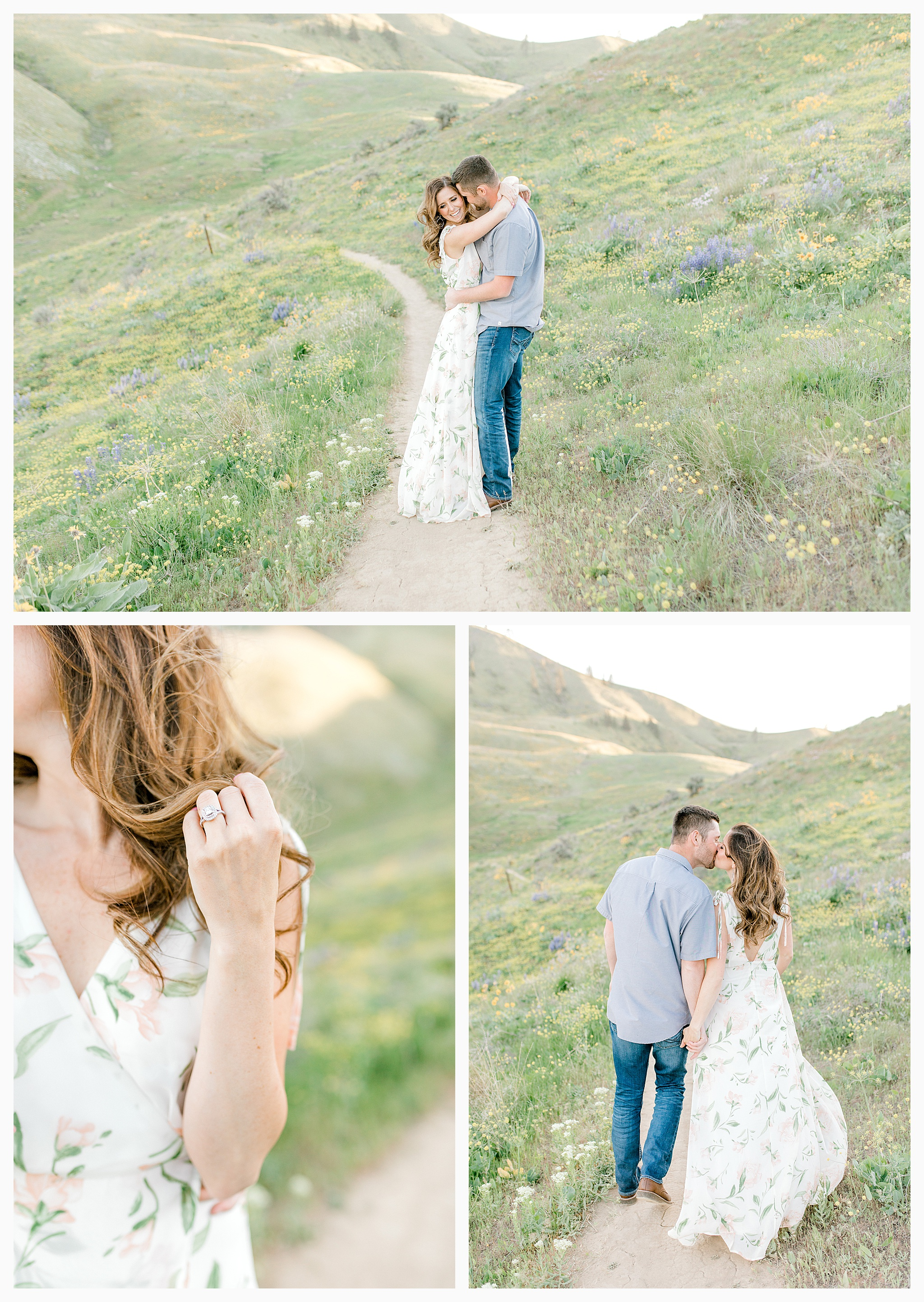 Engagement session amongst the wildflowers in Wenatchee, Washington | Engagement Session Outfit Inspiration for Wedding Photography with Emma Rose Company | Light and Airy PNW Photographer, Seattle Bride_0011.jpg