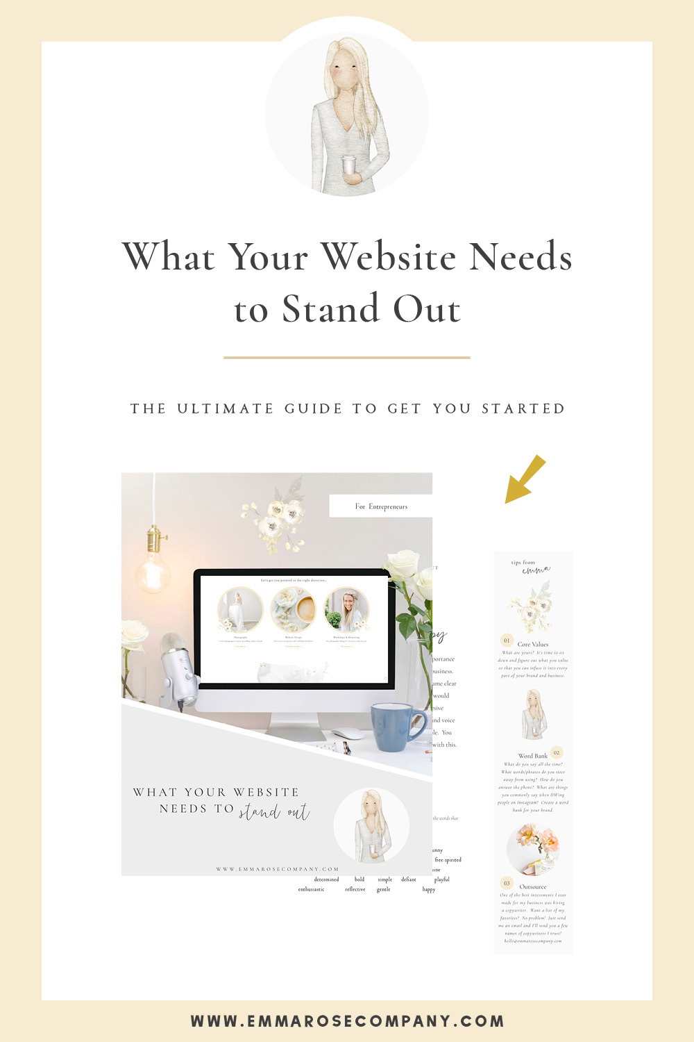 As a website designer, I know how important it is to stand out online with a website that draws in your dream clients.  Let's work through a few things you can do today to set your website apart from the competition.  Grab my free guide with step by step details on standing out online!  #websitedesign #blogdesign #branding
