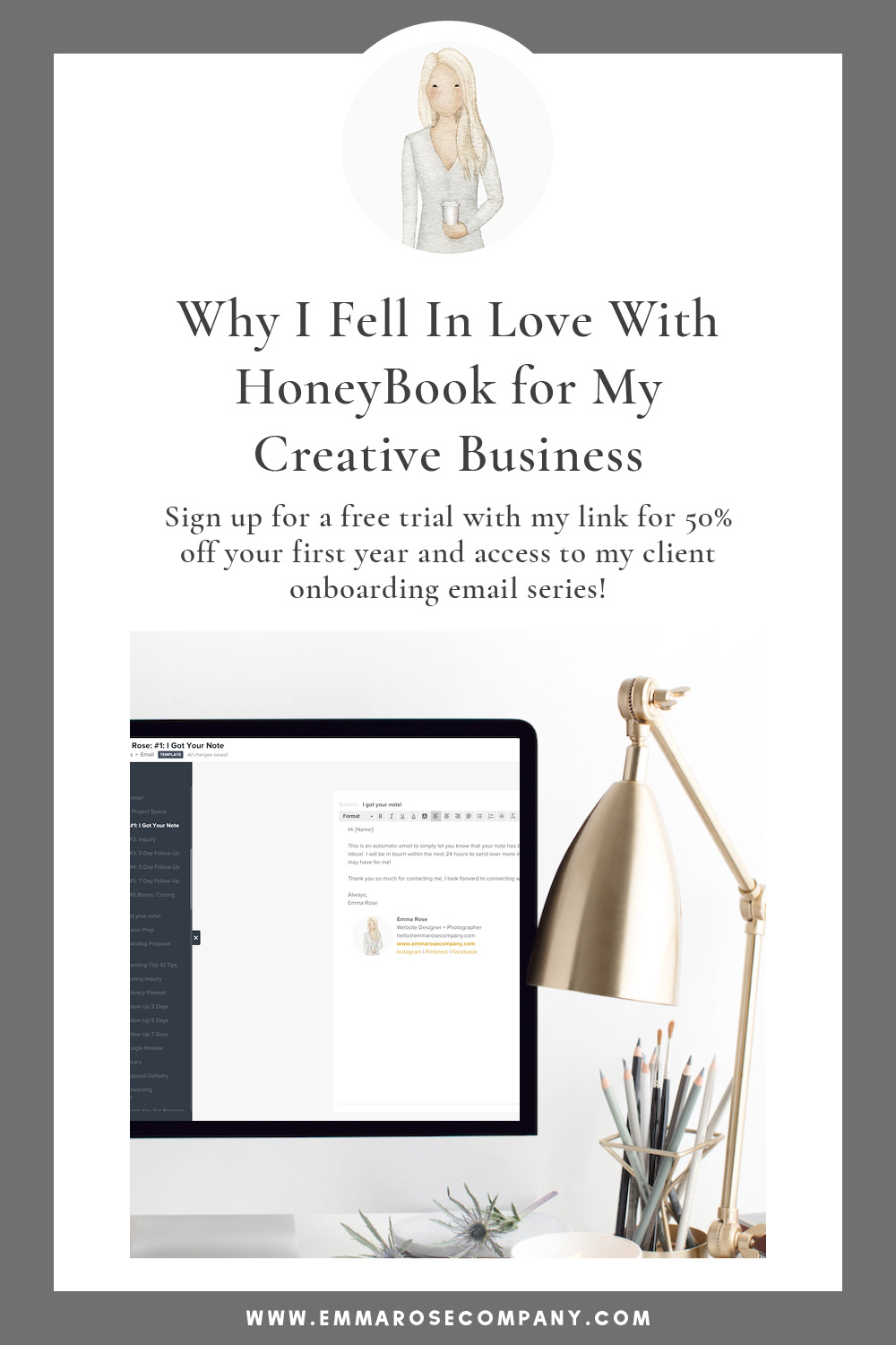 Do you use a CRM software to run your creative online business?  I'm here to tell you all about HoneyBook and why I love it!  I am also going to share 50% off your first year with a special link!  Whether you're a designer, photographer, or any online creative business owner, this post is for you.  Let's get organized and help you better manage your time, client projects, and LIFE!   #blogging #businesstools #productivity #organization #honeybook