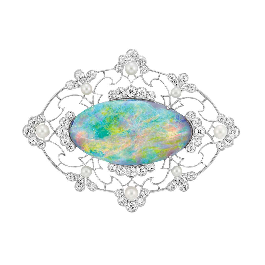 Black opal in platinum setting