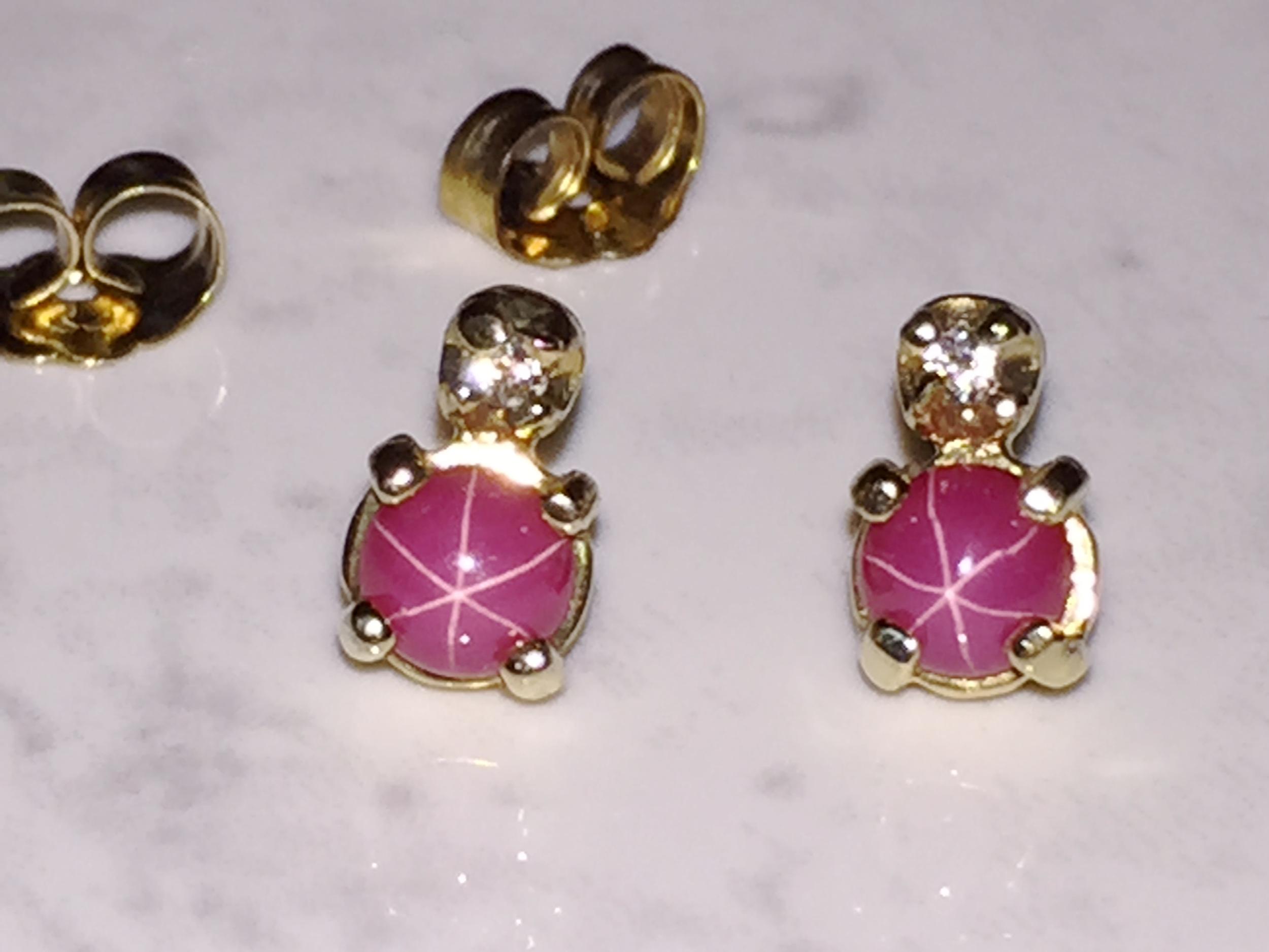Our last pair of Star Ruby earrings