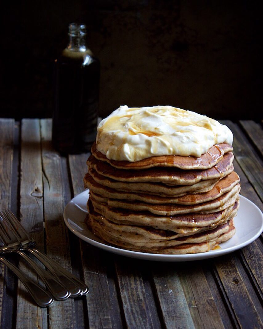 Carrot Cake Pancake Stack with Whipped Cream Cheese Frosting