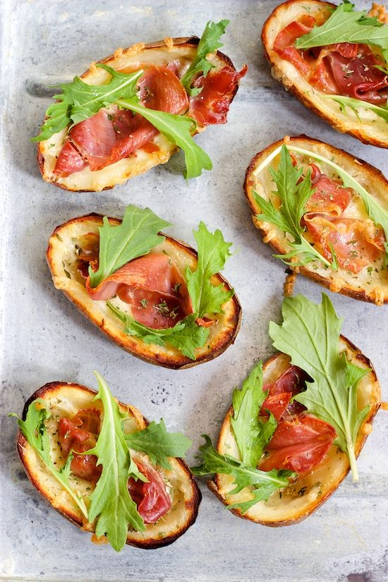 Garlic and Herb Potato Skins with Crispy Prosciutto and Arugula