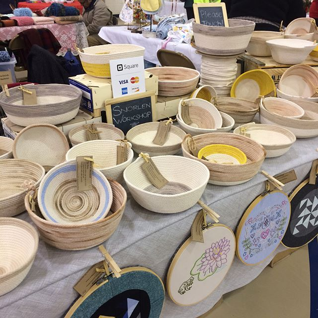 We're at the St John the Evangelist Christmas Bazaar in Yardley today from 10-3. The snow is beckoning you to get in the Christmas spirit! Lots of great gift ideas here! #buckscounty #buckscountypa #newtownpa #ropebowl #ropebasket #yardleypa