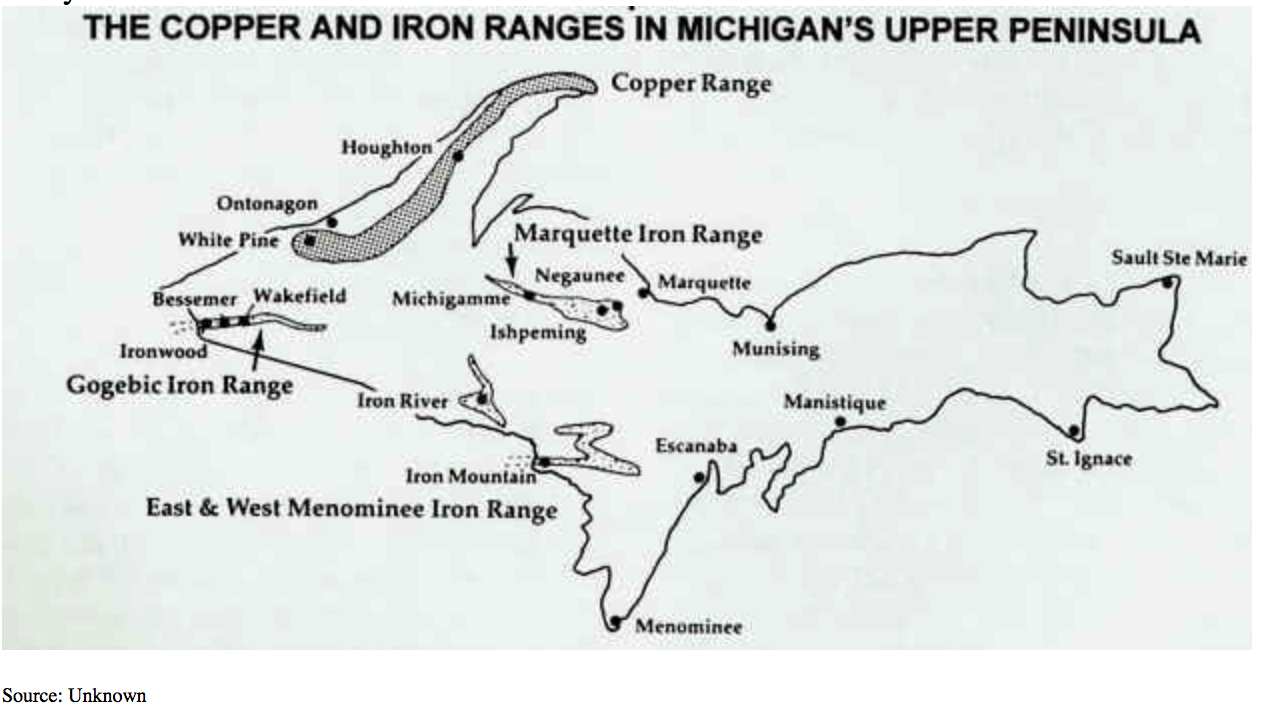 Copper and iron deposits in the UP.
