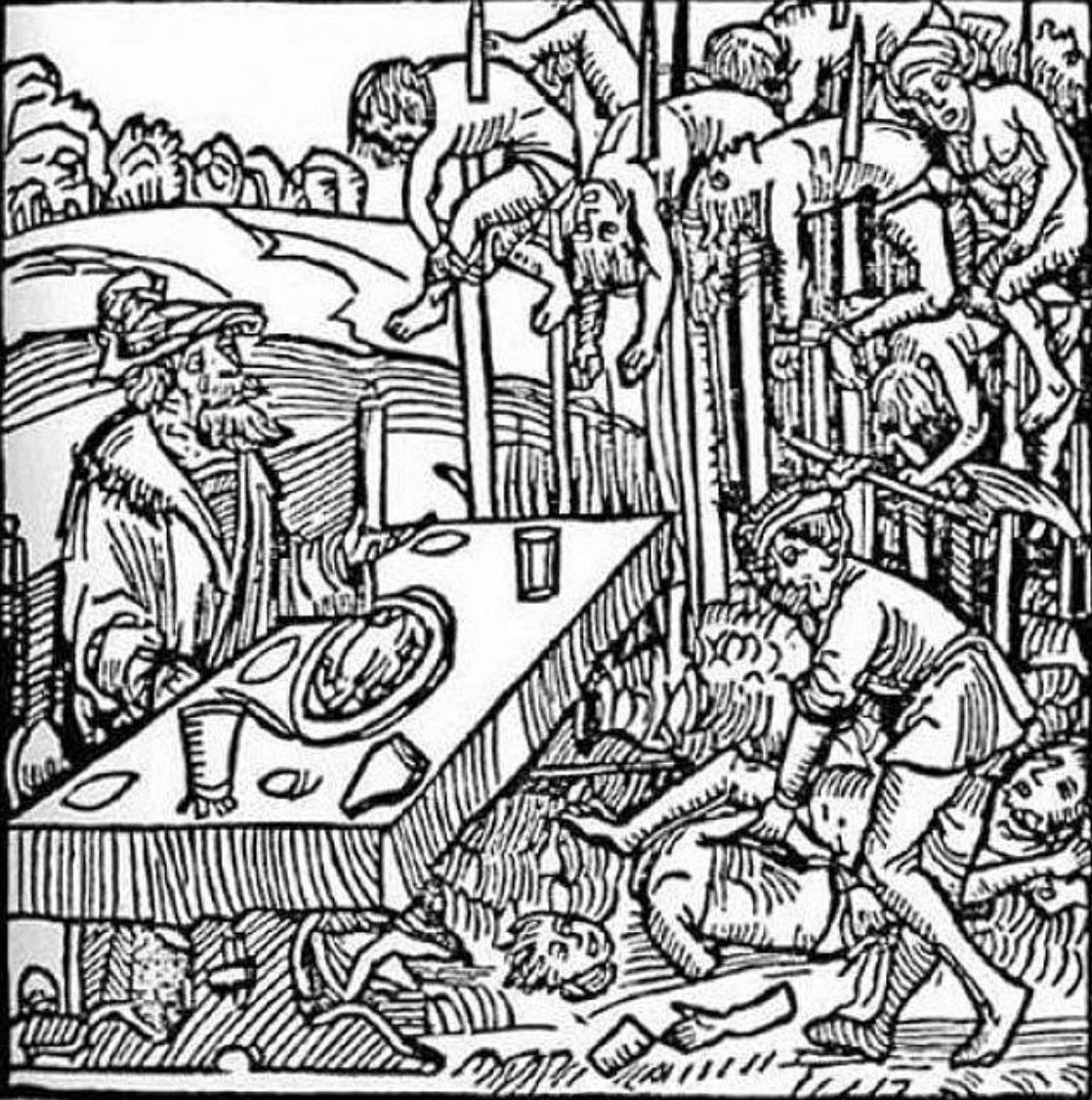 A woodcut print of Vlad amongst his impaled. http://www.aeolus13umbra.com/2013/10/vlad-dracula-dragons-shadow-balkan.html