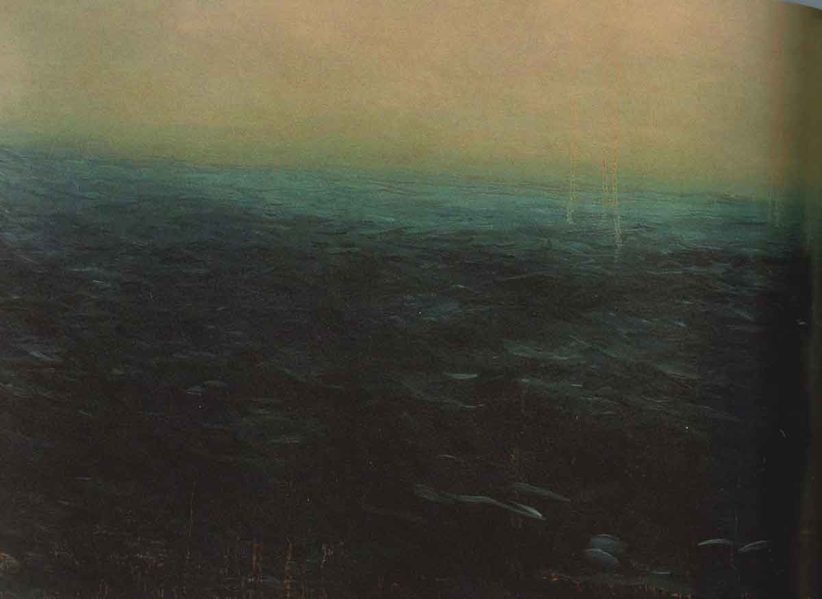 Untitled (sydney), 2008  (oil on paper, 22 x 40 inches)