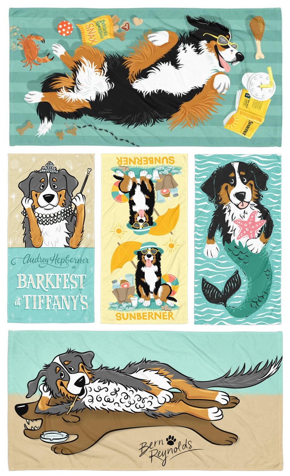 Berner-centric beach towel designs for my business  Beatrix & Midge Co .