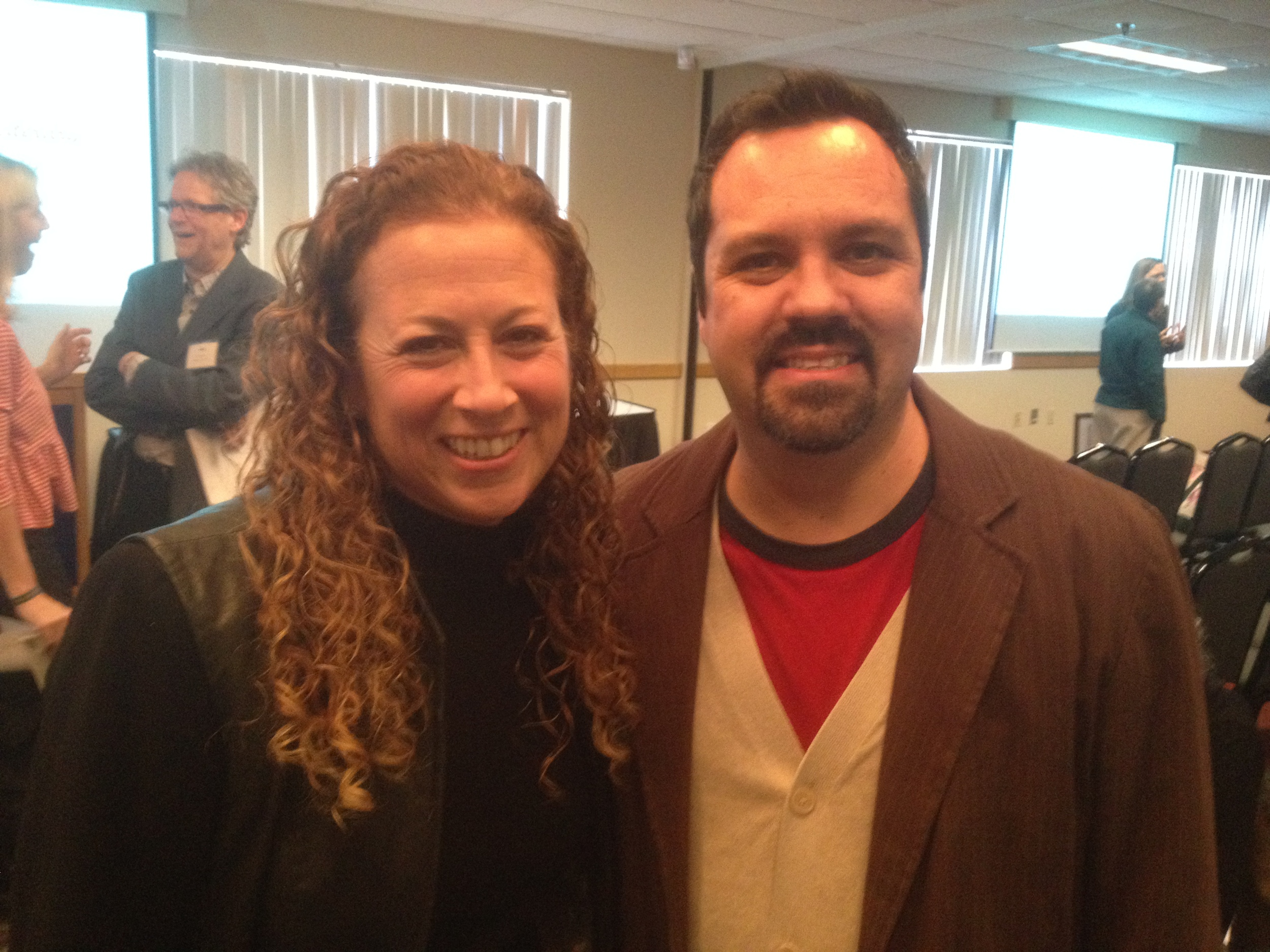 Kevin greeting NYT best-selling author Jodi Picoult, another New Hampshire writer with a slighter larger following.