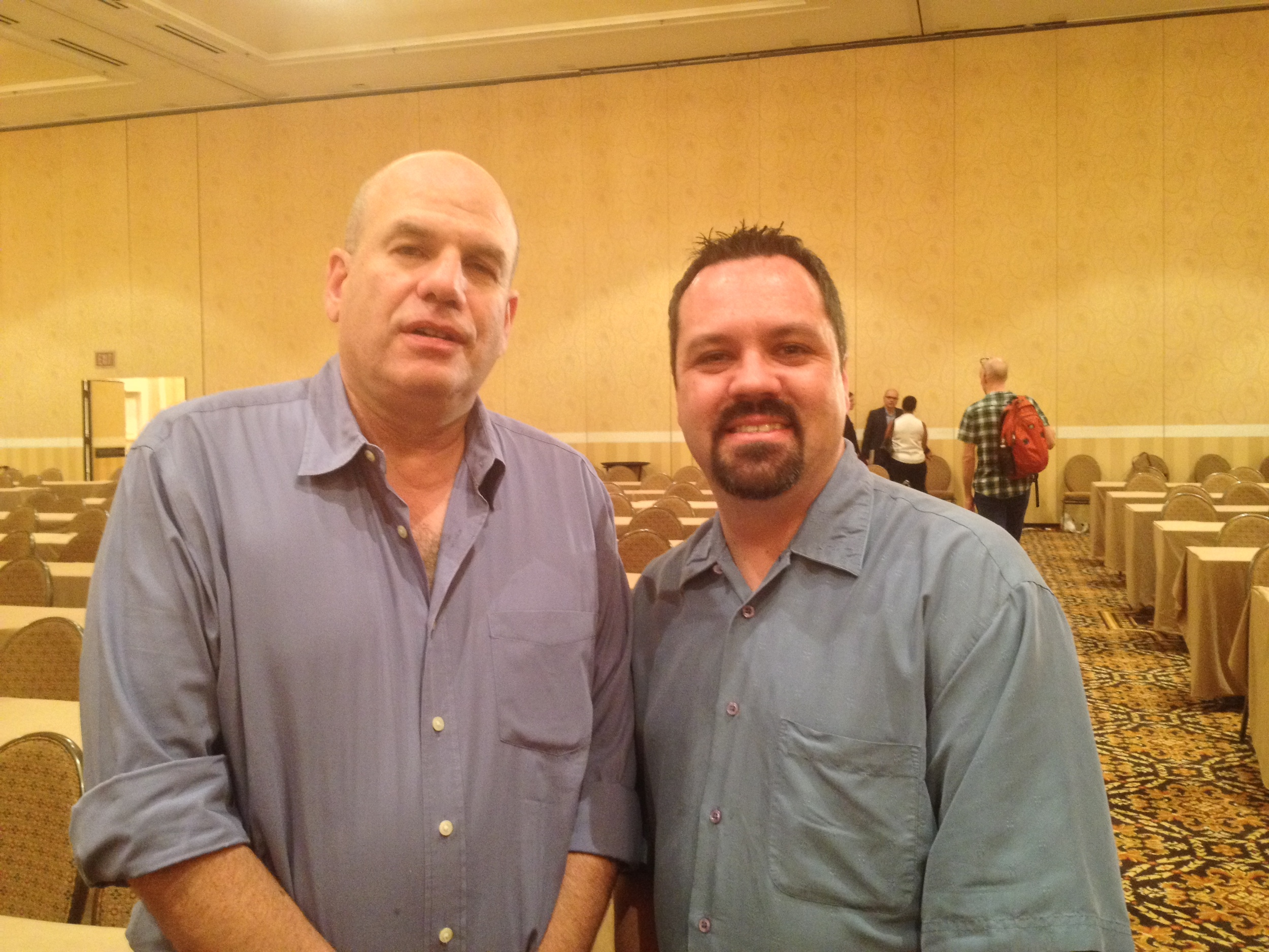 "Kevin in New Orleans posing with his favorite author, David Simon. Before creating the acclaimed HBO show ""The Wire,"" Simon wrote the best true crime book of his generation,  Homicide: A Year on the Killing Streets  (later made into an NBC drama). Mr. Simon does not seem as impressed with meeting Kevin as Kevin does meeting him."