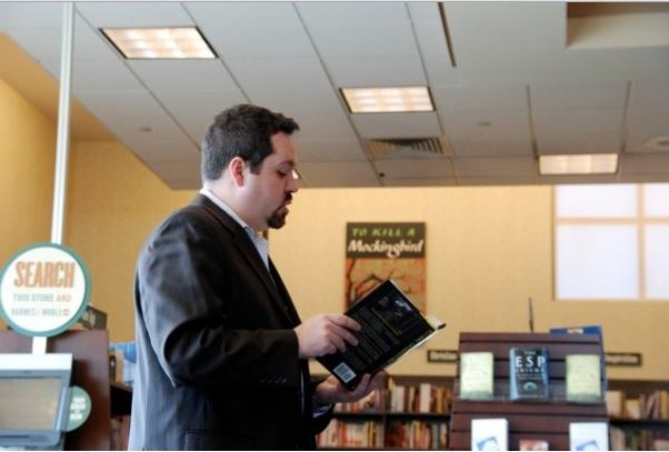 Kevin doing a selected reading of  Wicked Intentions  at the Barnes and Noble in Holyoke, MA. Kevin & Rebecca are available for readings. Click this photo to get to their contact page.