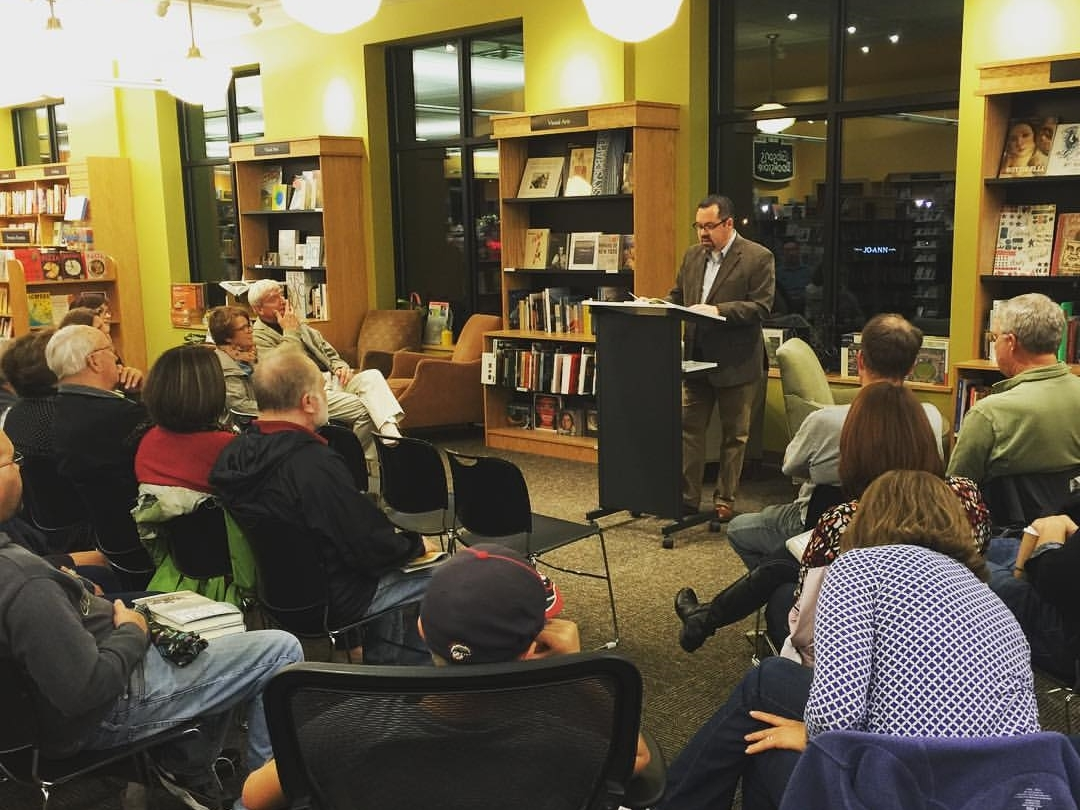 Kevin conducts a reading of his new nonfiction book,  American Sweepstakes , in front of a capacity crowd at Gibson's bookstore.
