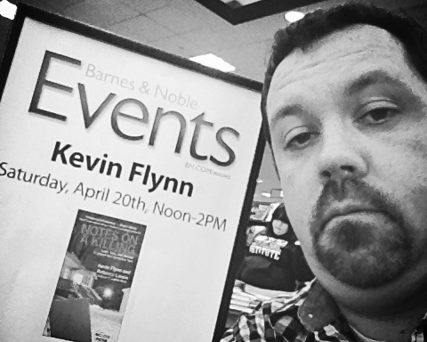 Here's Kevin appearing solo at a book signing at the Barnes and Noble in Manchester, NH. It can get lonely without his partner, but it makes signing books quicker.