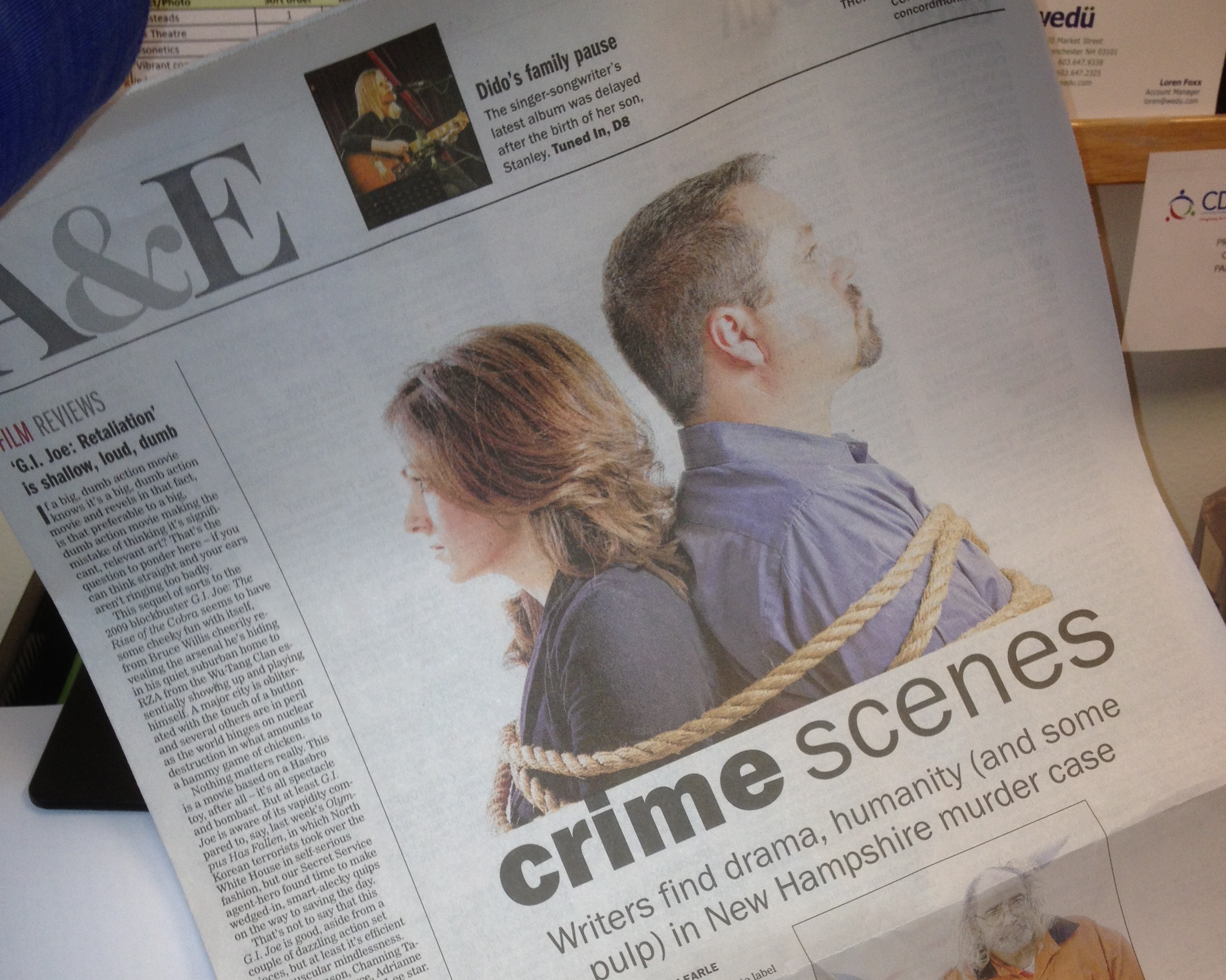 "A full-page spread on Kevin and Rebecca in the  Concord Monitor . The paper said "" Notes on a Killing  certainly won't disappoint devotees of its genre."""