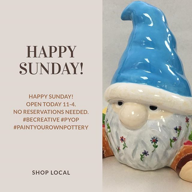Happy Sunday! Open today from 11am to 4pm. Walk-in welcome. No reservations.  #kre8artstudio #monroect #PYOP #paintyourownpottery #shoplocal