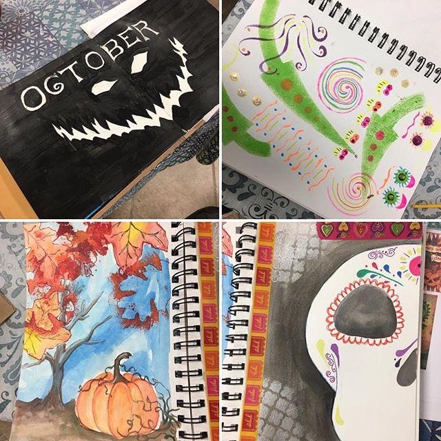 Art journaling Halloween inspirations. #kre8artstudio #monroect #artjournal