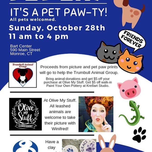It's a Pet Paw-ty! Today's the last Sunday of the month! That means is Pet Paw Sunday! This month its Pet Day because we are inviting all pets to stop in at the studio and @olivemystuff . We will be making our pet clay imprints and photos with Winifred from Hocus Pocus at Olive My Stuff. Proceeds will go to the Trumbull Animal Group (TAG).