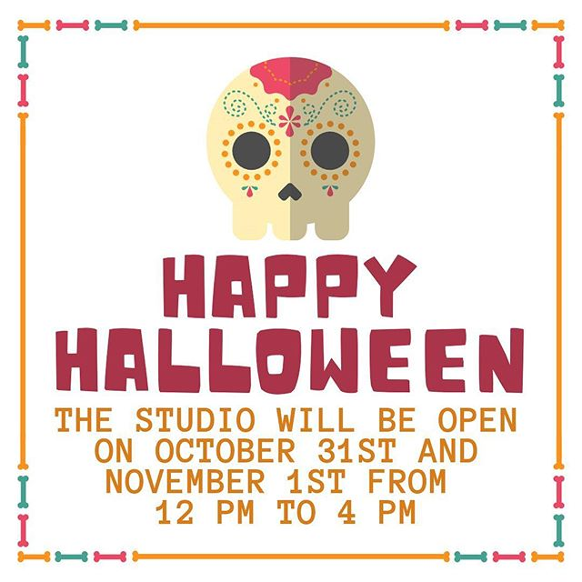 Happy Halloween. The studio is open from 12pm to 4pm. We have candy for trick or treaters. Halloween pottery is 15% off.