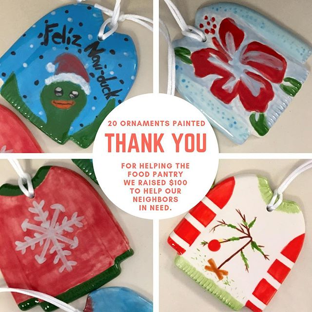 Thank you to our customers who stopped in to painted ugly sweater ornaments to raise funds for the food pantry. We will be dropping off a check and food donations this week.