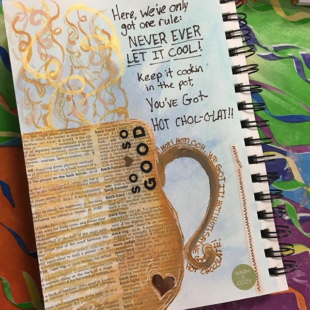 Thinking of hot chocolate on this cold December day. Oooh hot! Hot chocolate! #artjournal #hotchocolate #kre8artstudio