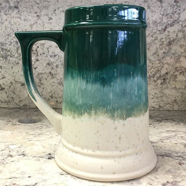 Loving the teal beer stein. #stoneware #maycoatwork