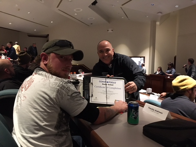 Congrats to our very own auto cover installer/repairman Tim Andrews on completing Cover Pools Dealer School!
