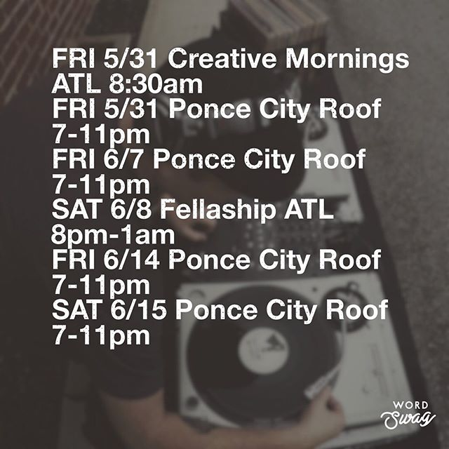 Yo! Here's where you can find me and these turntables in the next 3 weeks ✌🏻