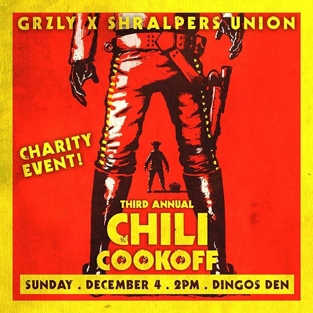 This Sunday in Clifton, NJ. 2-6PM. Our Third Annual Chili Cook-off. This is a charity event held in honor of my friend Noel Korman and his girlfriend Alice Park who lost their lives on December 6, 2014 in a tragic accident.  Entry fee: $5 or one winter coat. Proceeds will be donated to St. Peter's Haven in Clifton, NJ who work with homeless and struggling families in the area. Paid entry receives three tickets which you use to vote for your favorite chilis.  10 different chilis. Raffles every hour. 50/50. Back room will have vendor tables from GRZLY, Shralpers Union, Chi Flo, along with custom soaps and candles, and tarot card readings.  DJ sets all day from Victrola, Jack Torrents, and Bert Crush.  50/50 winner called at 6:15. Contest winner called at 6:30. Top chili receives a $100 gift certificate to Jinx Proof Tattoo in Montclair, NJ.