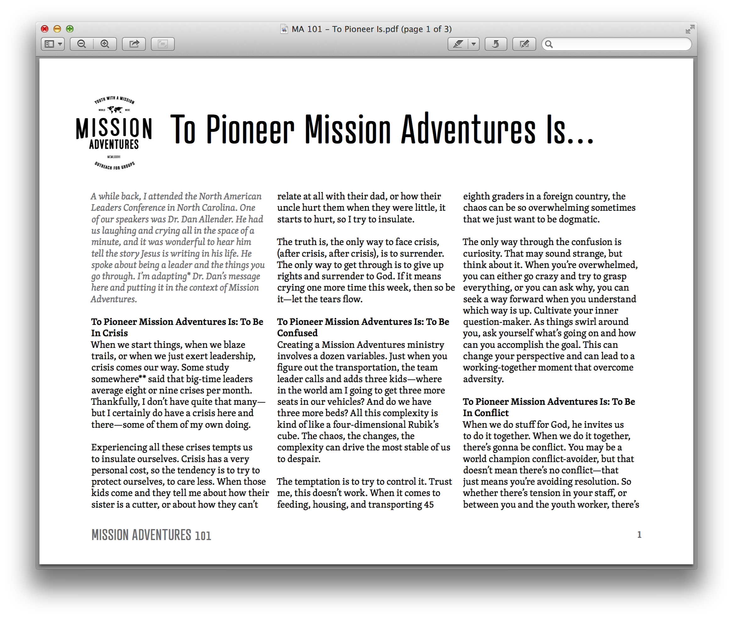 To Pioneer Mission Adventures Is…  The personal cost of pioneering can surprise us—this blog post can help.