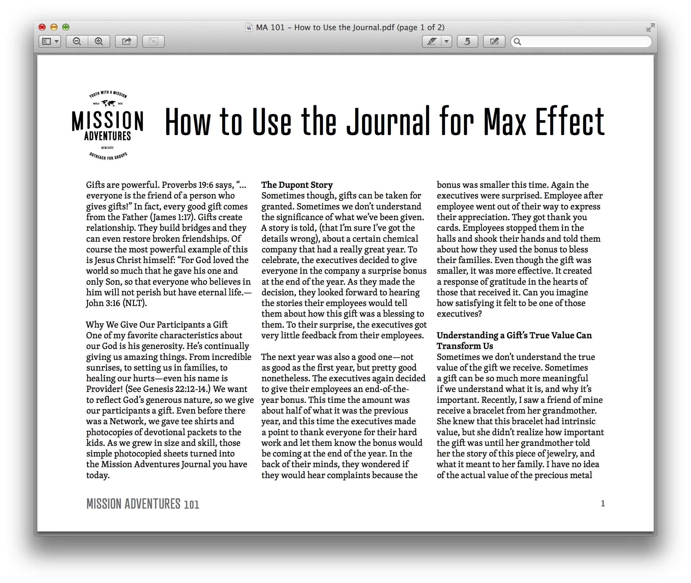 How to Use the Journal for Maximum Effect  This quick two-pager gives some great advice for how you can help your students get the most out of the MA Gear.